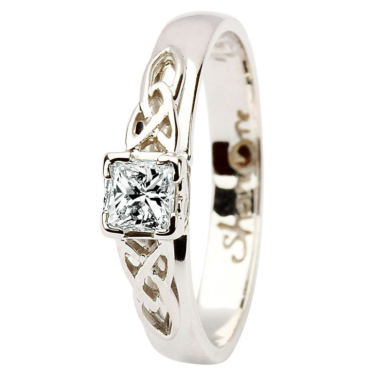 14 Karat White Diamond Set Celtic Love Knot Ring