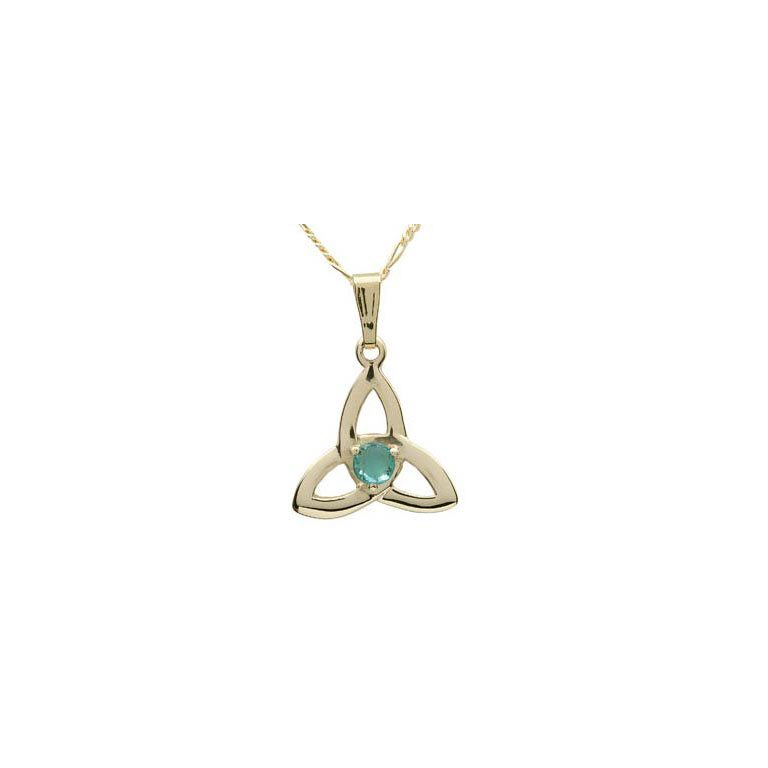 14k Yellow Gold Emerald Set Trinity Knot Pendant
