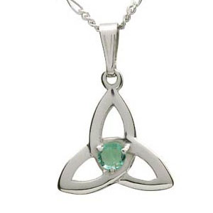 14k White Gold Emerald Set Trinity Knot Pendant