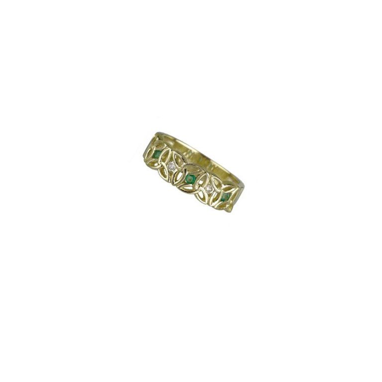 14 Karat Yellow Gold Diamond & Emerald Trinity Knot Ring