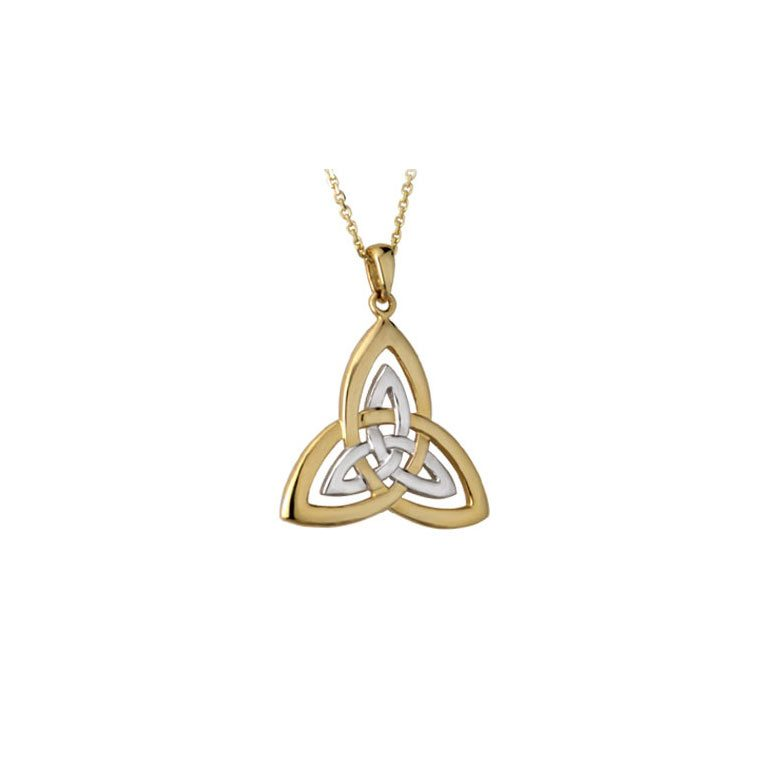 14k Two Tone Trinity Knot Pendant with Chain