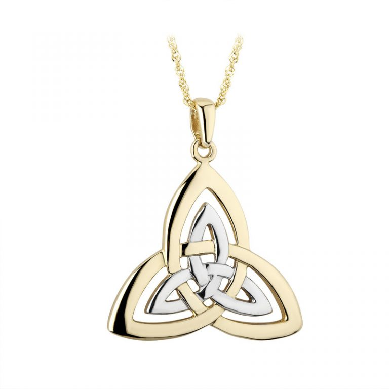 Double Trinity Knot Two Tone Gold Pendant