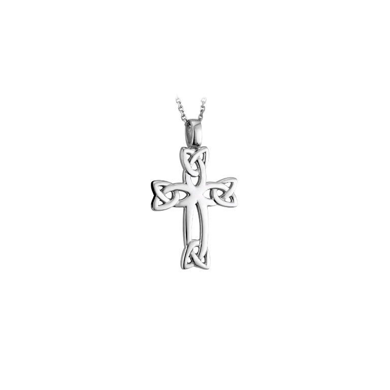 14k White Trinity Knot Cross Pendant with Chanin