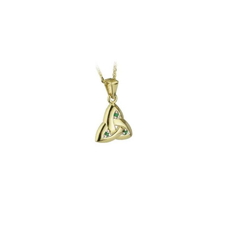 14k Yellow Gold Emerald Trinity Knot Pendant with Chain