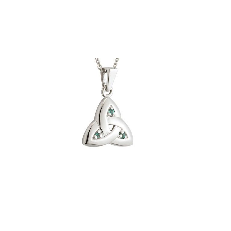 14k White Gold Emerald Trinity Knot Pendant with Chain