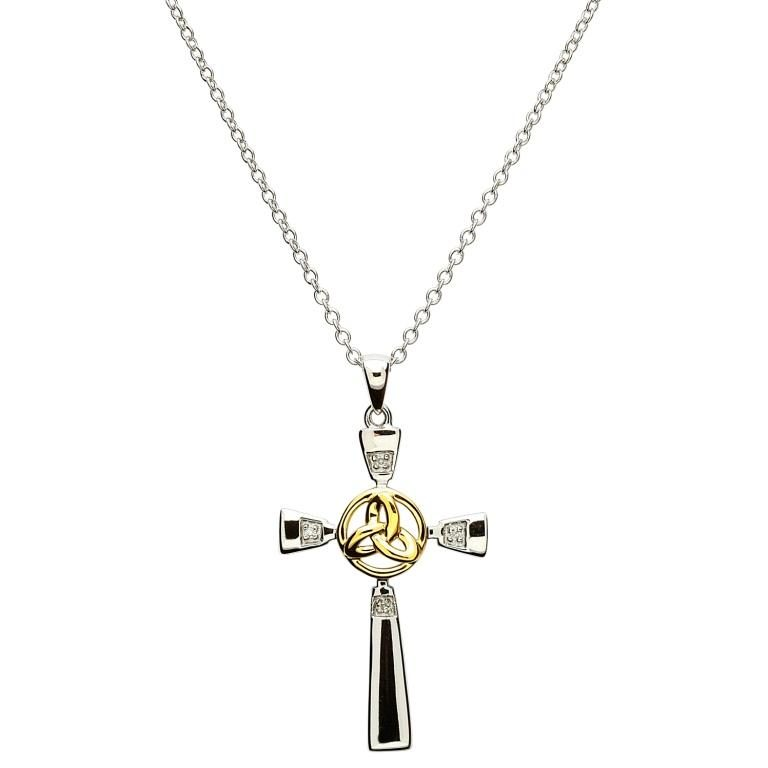Silver Diamond Trinity Knot Cross