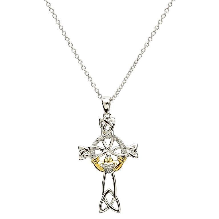 Silver Diamond Claddagh and Celtic Cross