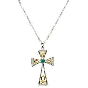 Silver Diamond & Emerald Trinity Knot Cross Pendant