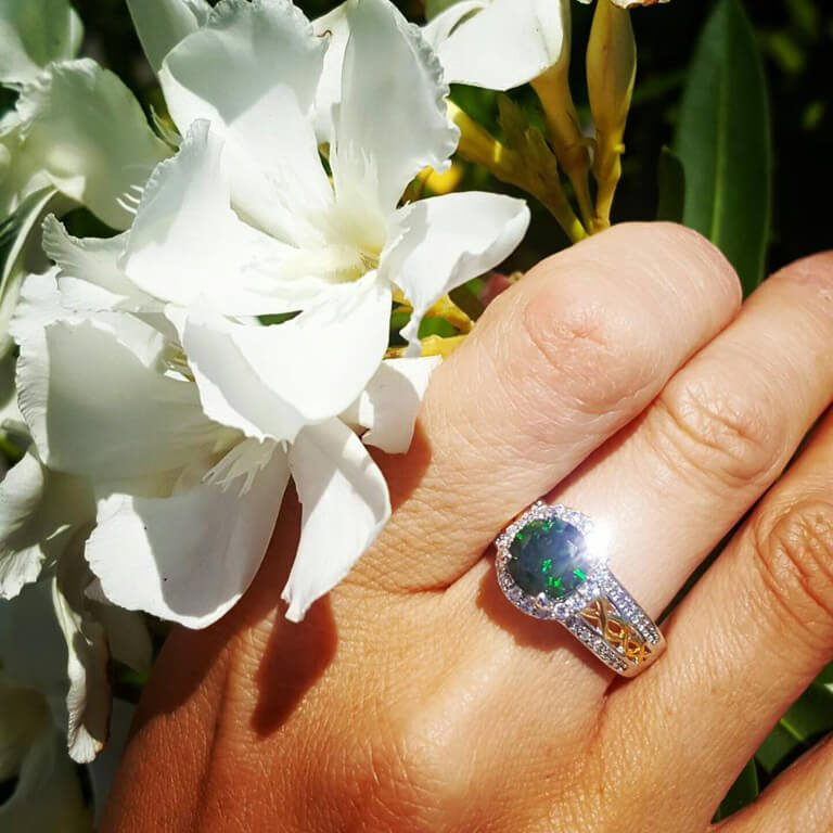 Silver Green Cz Celtic Knot Halo Ring on Finger