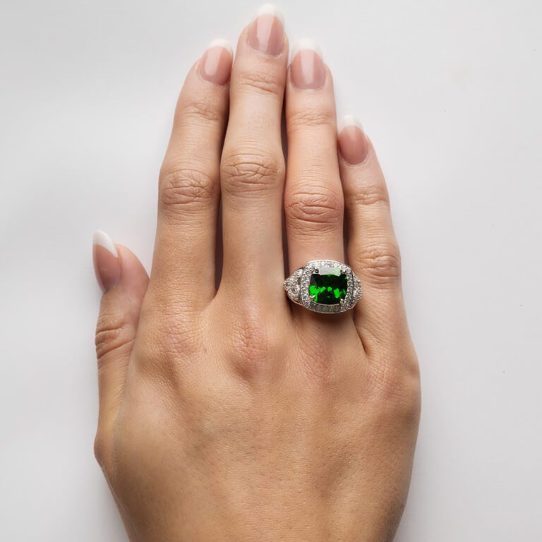 Silver Green Cz Trinity Knot Halo Ring on Finger