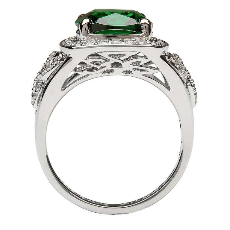 Silver Green Cz Trinity Knot Halo Ring Side View