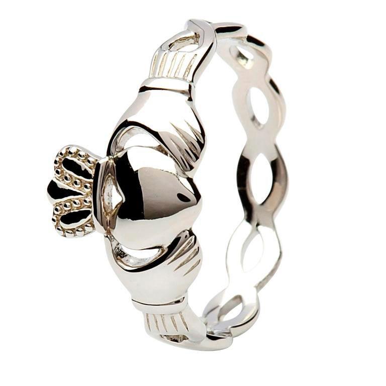 Silver Twister Claddagh Ring