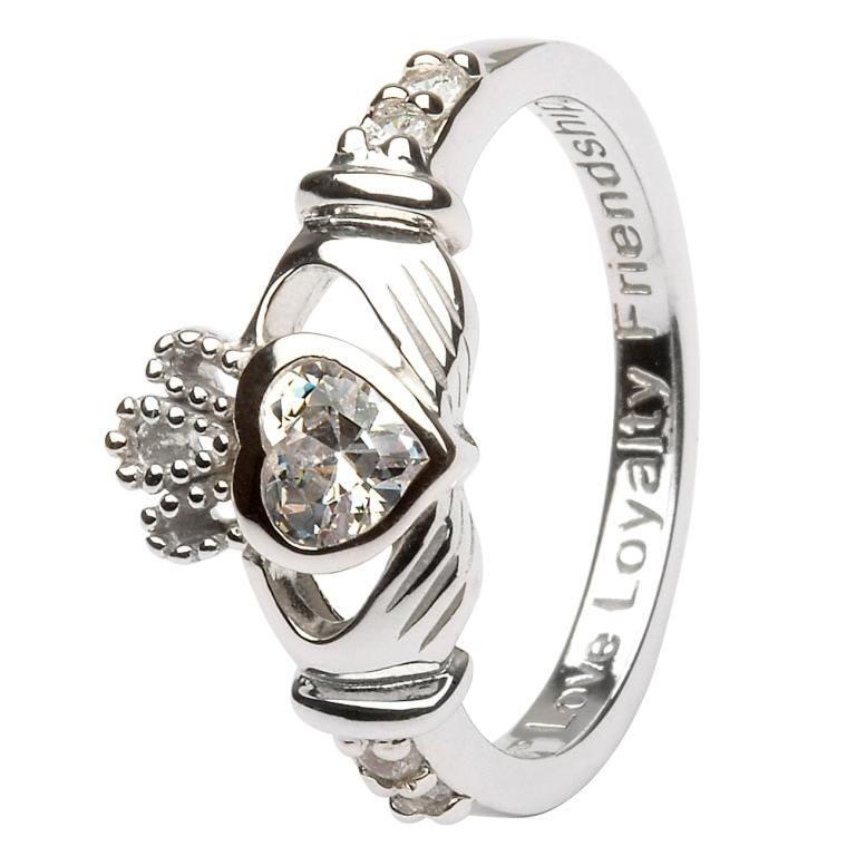 Silver Claddagh Birthstone Ring - April