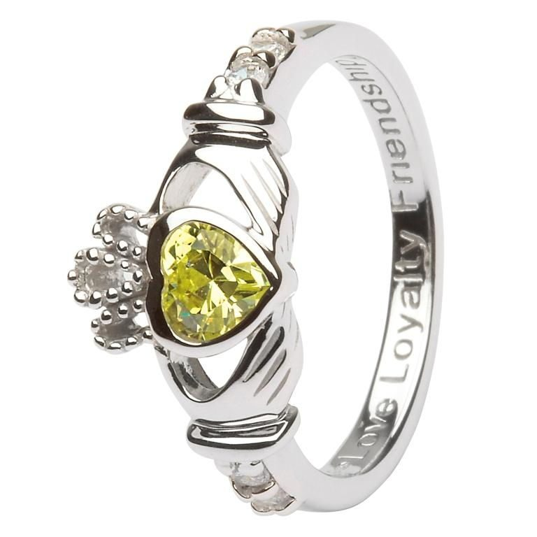 Silver Claddagh Birthstone Ring - August