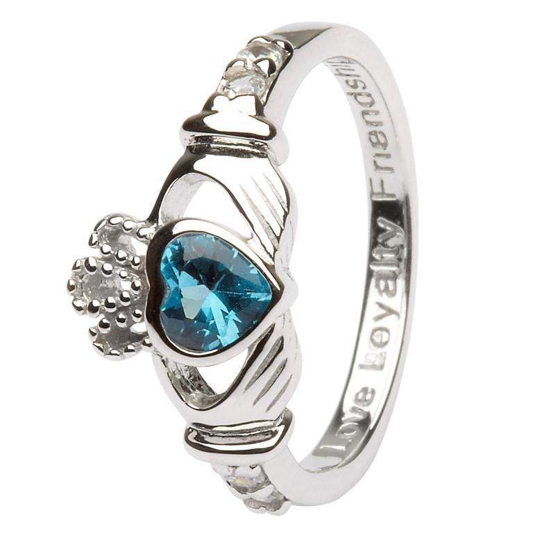 Silver Claddagh Birthstone Ring - December