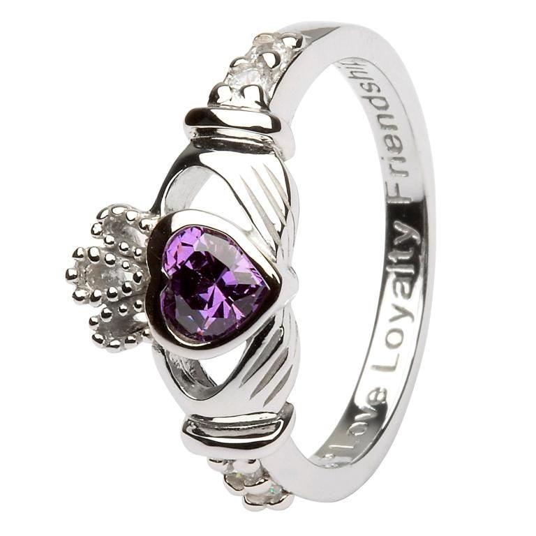 Silver Claddagh Birthstone Ring - February