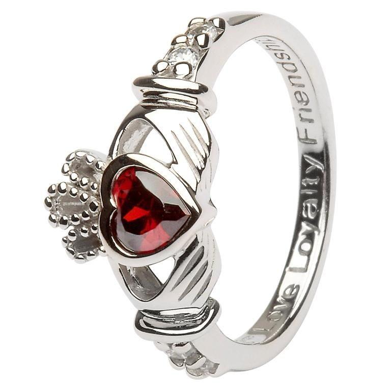 Silver Claddagh Birthstone Ring - January