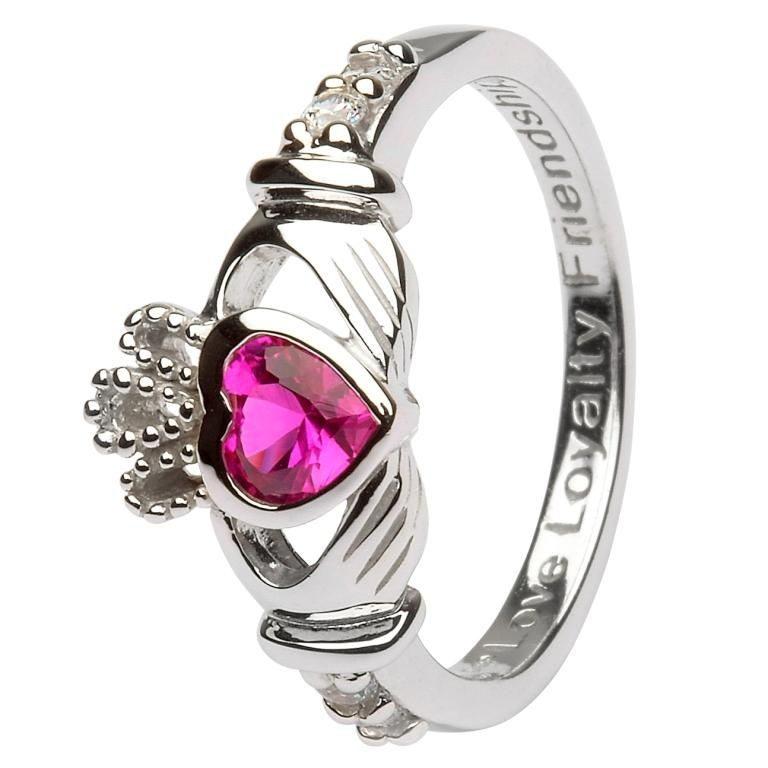 Silver Claddagh Birthstone Ring - July