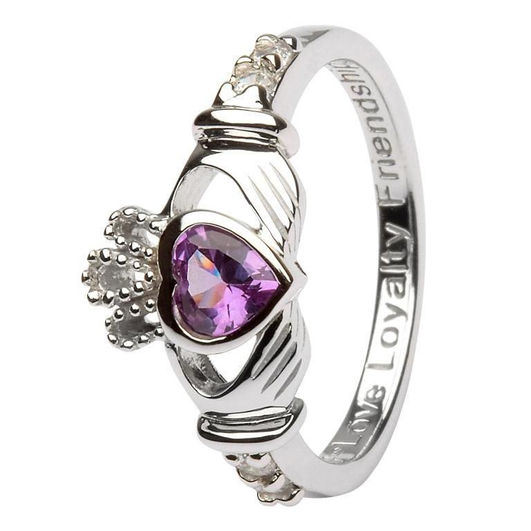 Silver Claddagh Birthstone Ring - June