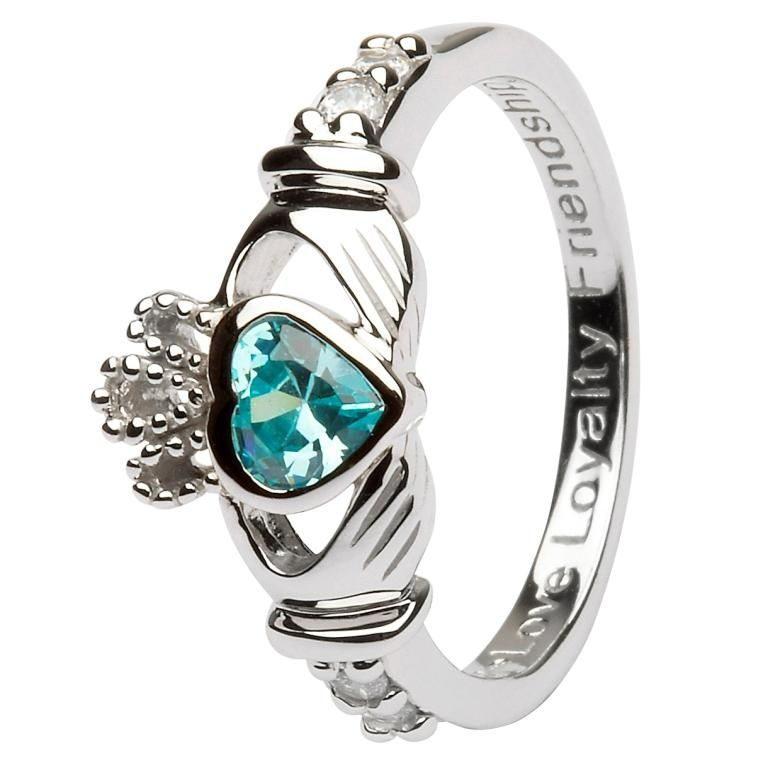 Silver Claddagh Birthstone Ring - March