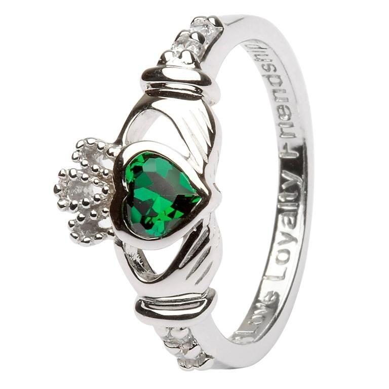 Silver Claddagh Birthstone Ring - May