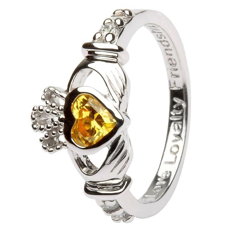 Silver Claddagh Birthstone Ring - November