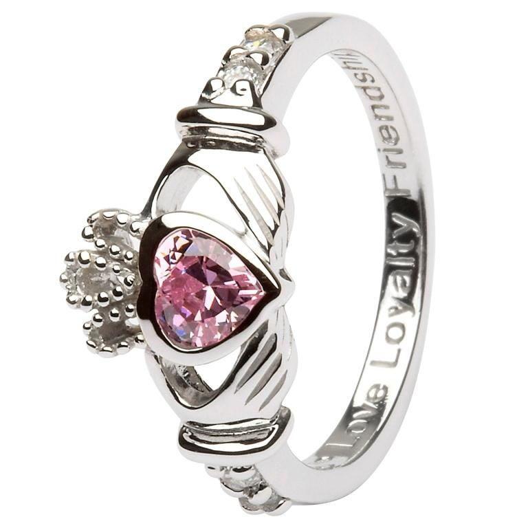 Silver Claddagh Birthstone Ring - October