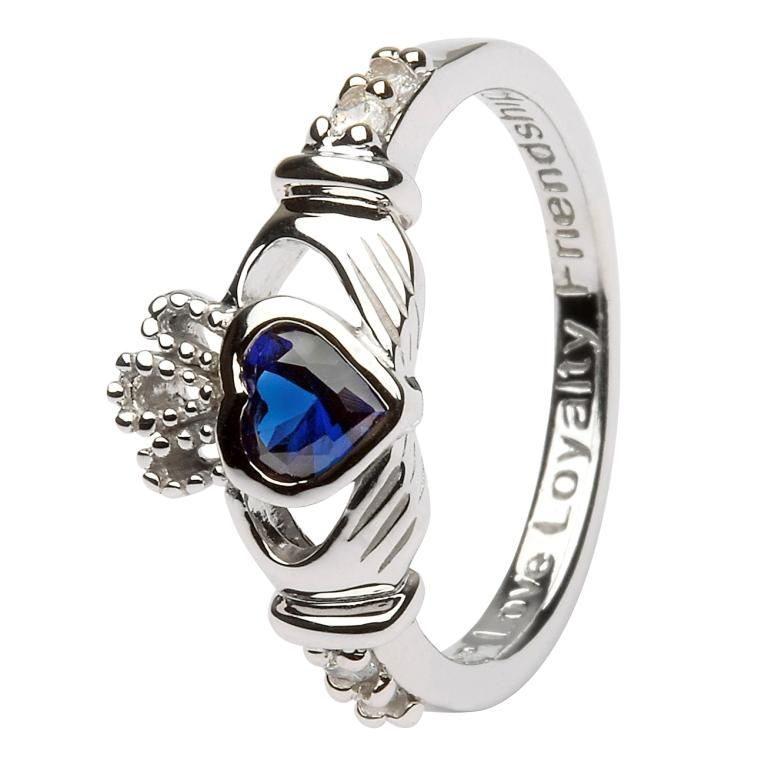 Silver Claddagh Birthstone Ring - September