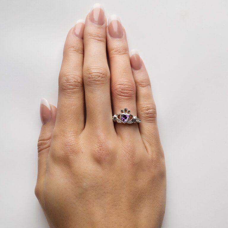 Silver Claddagh Birthstone Ring on Finger