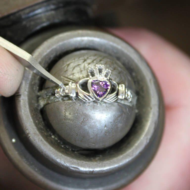 Silver Claddagh Birthstone Ring Working on