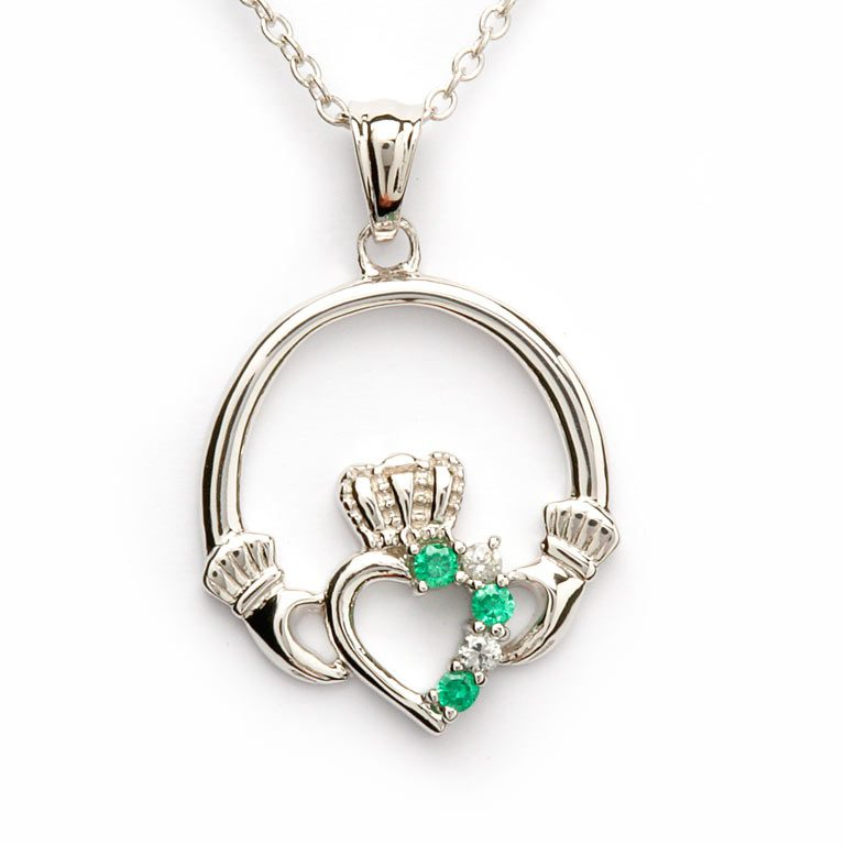 Silver Claddagh Green CZ and CZ Pendant