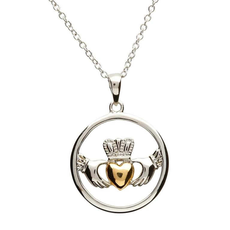 Silver and Gold Circular Plated Claddagh Pendant