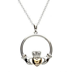 Silver and Gold Plated Claddagh Pendant