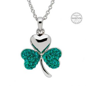 Silver Shamrock Necklace Encrusted With Swarovski Crystals