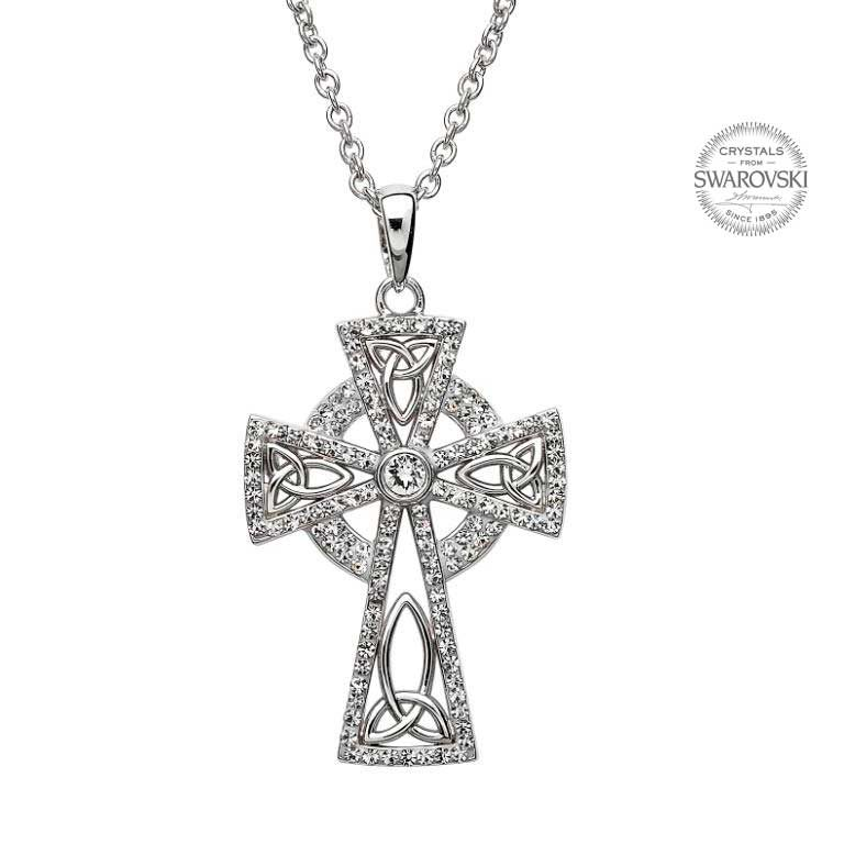 Silver Celtic Trinity Cross Embellished With Swarovski Crystals