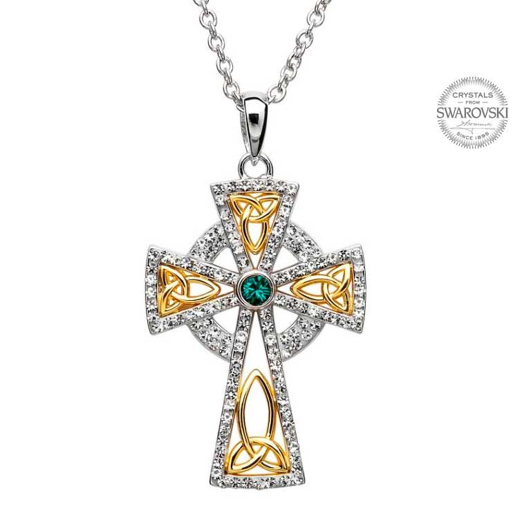 Silver Trinity Gold Plated Cross Embellished With Swarovski Crystals