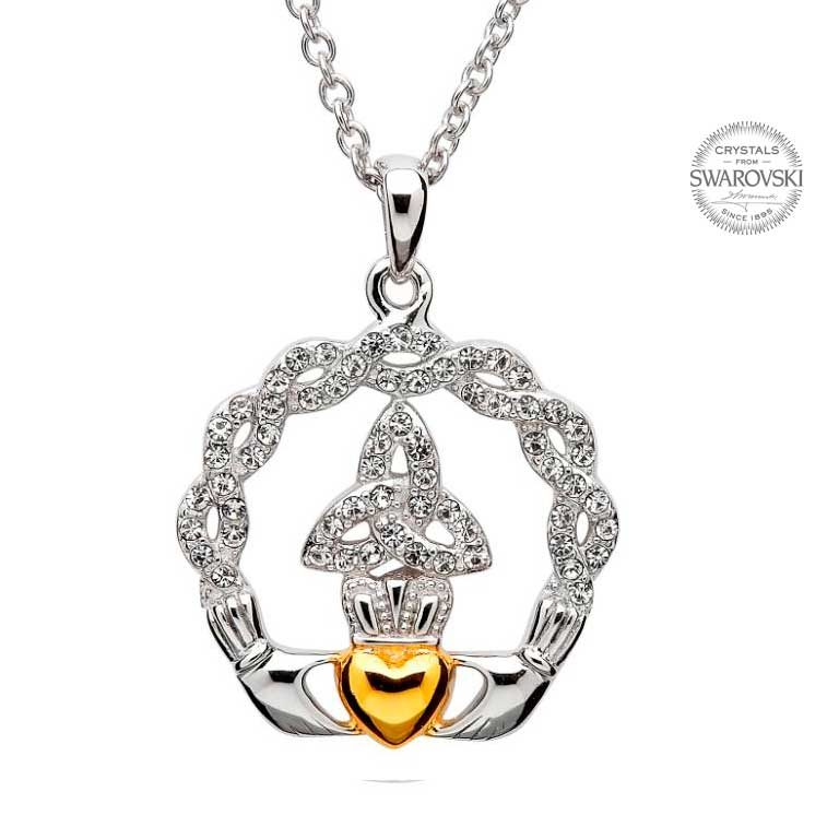Silver Claddagh Trinity Necklace Embellished With Swarovski Crystals