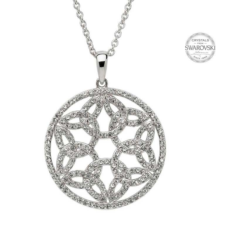 Silver Trinity Circle Necklace Embellished With Swarovski Crystals