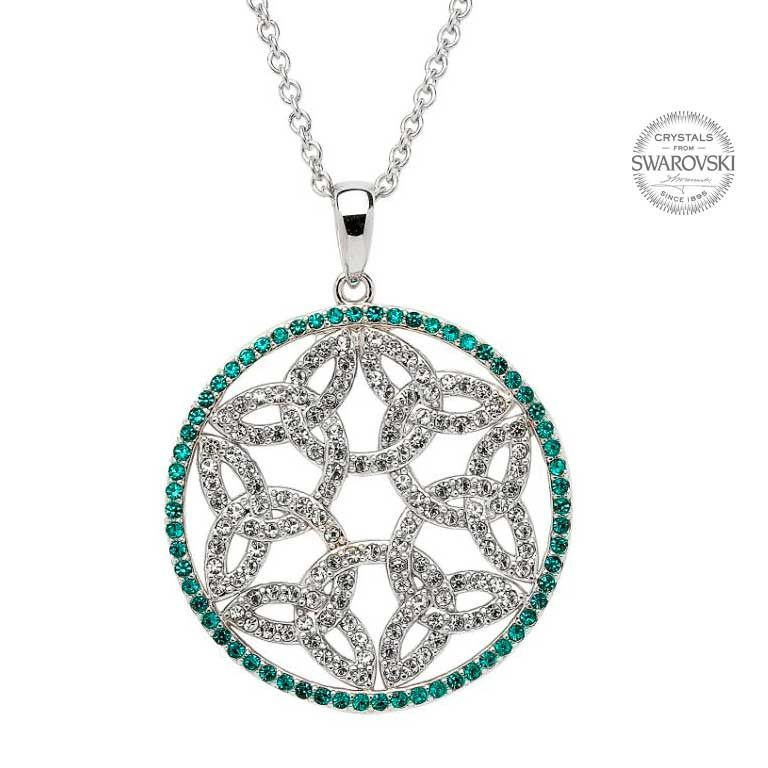 Silver Trinity Knot Circle Necklace Encrusted With Swarovski Crystals