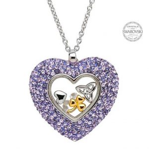 Silver Trinity Heart Necklace Encrusted With Swarovski Crystals