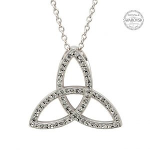Silver Celtic Trinity Knot Necklace Embellished With Swarovski Crystals