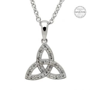 Silver Celtic Trinity Knot Embellished With Swarovski Crystals