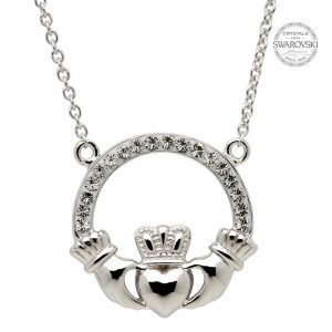 Silver Claddagh Necklace Encrusted With Swarovski Crystals