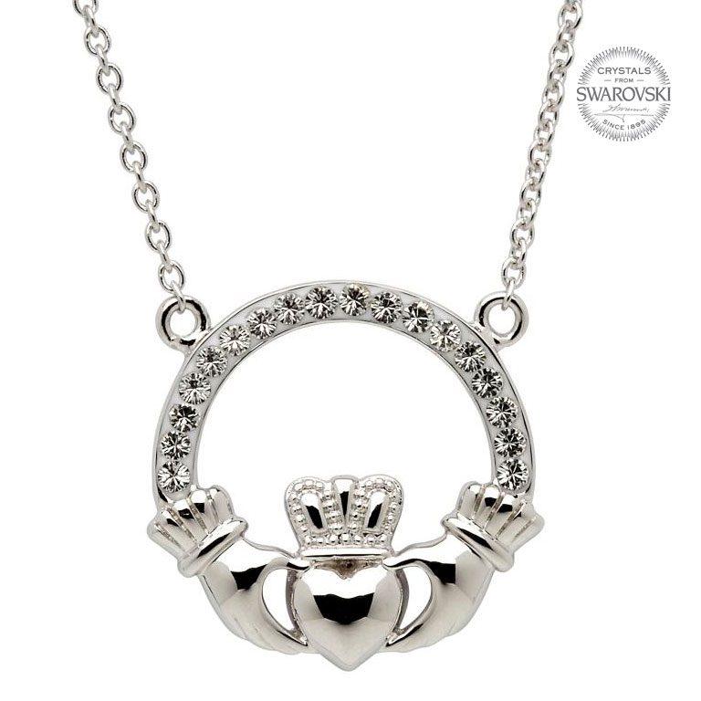 Silver Claddagh Necklace Encrusted With Swarovski Crystals