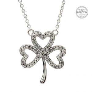 Silver Open Shamrock Necklace Embellished With Swarovski Crystals