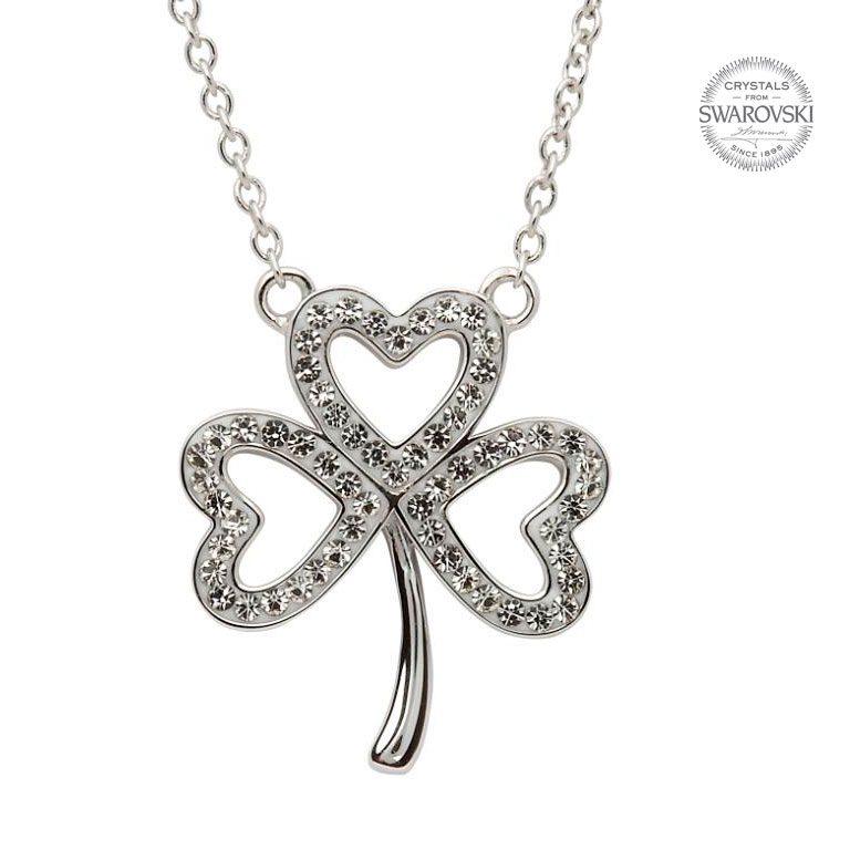 Silver Open Shamrock Necklace Embellished With Swarovski Crystals