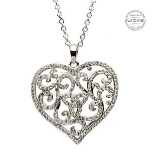 Silver Heart Trinity Necklace Encrusted With White Swarovski Crystals