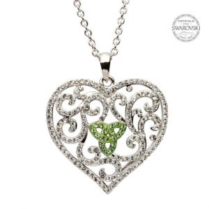 Silver Heart Necklace Encrusted With Peridot And White Swarovski Crystals
