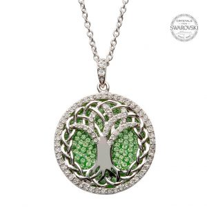 Silver Tree Of Life Necklace Encrusted With Peridot And White Swarovski Crystal