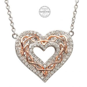 SilverCeltic Heart With Rose Gold Knot Work Encrusted With Swarovski Crystal